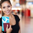 Portrait of young businesswoman at airport — Stock Photo