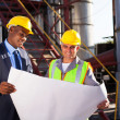 Industrial engineers with blueprint — Stock Photo #27580749