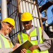 Petrochemical co-workers working at plant — Stock Photo #27583015