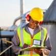 African american oil chemical industry worker — Stock Photo