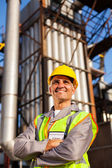 Optimistic senior chemical industry worker — Stock Photo
