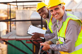Oil and chemical industry technicians — Stock Photo