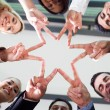Business people hands forming a star shape — Stock Photo