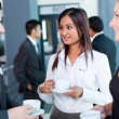 Businesspeople interacting during conference coffee break — Stock Photo