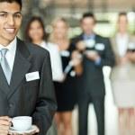 Indian businessman having coffee break — Stock Photo
