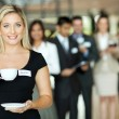 Young businesswoman coffee break — Stock Photo