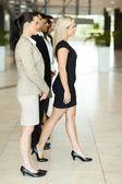 Businesswoman stepping forward — Stock Photo
