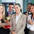 Businesswoman receiving a trophy — Stock Photo