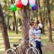 Romantic teen couple in the forest — Stock Photo #28181045