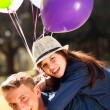 Teen boyfriend girlfriend piggyback — Stockfoto #28182191