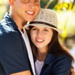 Beautiful young teen couple hugging — Stock Photo