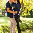 Young teenage couple kissing — Stock Photo