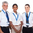 Stock Photo: Airline crew standing on white background