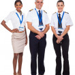 Stock Photo: Senior captain with airline crew