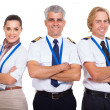 Group of airline crew with arms folded — Foto de Stock
