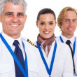 Stock Photo: Middle aged pilot and crew
