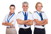 Group of airline crew with arms folded — Stock Photo