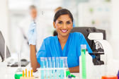 Smiling young indian scientist — Stock Photo