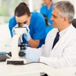 Stock Photo: Senior medical researcher helping junior lab technician