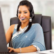 Beautiful indian business customer service operator — Stock Photo
