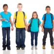 Elementary pupils holding hands — Stock Photo
