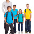 Stock Photo: Young indian boy in front of classmates and teacher
