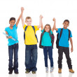 Happy kids with hands up — Stock Photo #28923529
