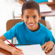Stock Photo: Africschoolboy writing classwork