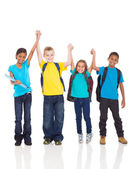 Happy kids with hands up — Stock Photo