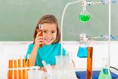 Elementary schoolgirl at the lab — Stock Photo