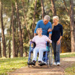 Couple taking their disabled senior mother for a walk — Stock Photo #29404389