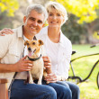 Senior couple and pet dog — Stock Photo