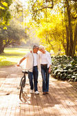 Cute senior couple walking outdoors — Stock Photo