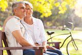 Elegant mid age couple daydreaming retirement outdoors — Stock Photo