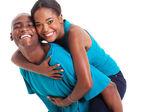 非洲女人享受哦,骑在男友背上 — 图库照片