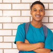 Stock Photo: African american college boy leaning against a wall