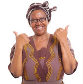 Senior african woman giving two thumbs up — Stock Photo