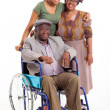 Handicapped african man with wife and daughter — Foto de Stock