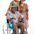 Handicapped african man with wife and daughter — Foto Stock