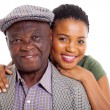 African daughter and senior father close up — Stock Photo
