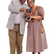 Old african couple using tablet computer — Stock Photo #30762683