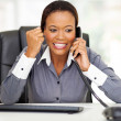 African american businesswoman hearing good news — Stock Photo