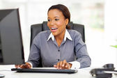 African american businesswoman working in office — Stock Photo