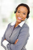 Afro american business call center operator — Stock Photo