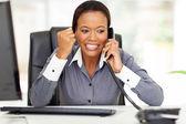 African american businesswoman hearing good news — Stock Photo
