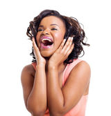 Cute african american woman laughing — Stock Photo
