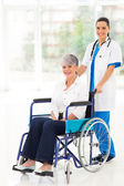 Young nurse pushing middle aged patient on wheelchair — Foto de Stock