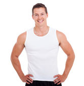 Healthy young man on white — Stock Photo