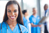 African american medical worker in hospital — Stock Photo