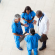 Overhead view of medical workers having a meeting — Stock Photo